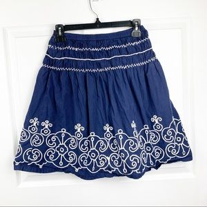 Mini Boden Blue Skirt White Floral Embroidery